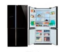 Sharp SJFS810VBK négyajtós, alulfagyasztós hűtőszekrény keret nélküli üveg dizájnnal A+