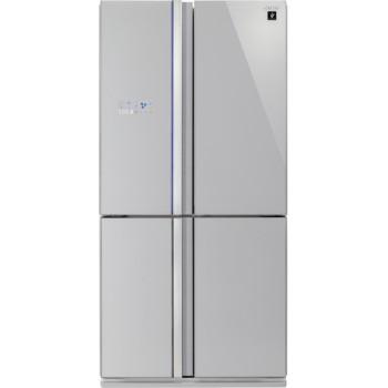 Sharp SJFS820VSL NoFrost A++ 393/207L ezüst üveg négyajtós alulfagyasztós hűtőszekrény